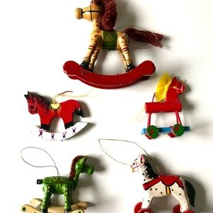 Set of 5 Wooden Horse Christmas Tree Ornaments